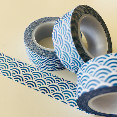 Washi Tape Blue Japanese Wave 15Mm X 10Mtr Planner Wrap Craft Scrap Mail Art