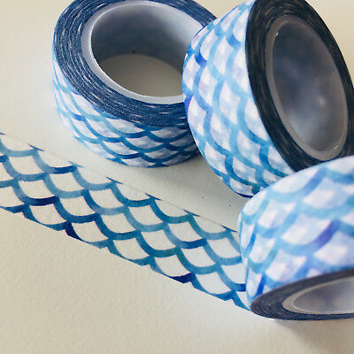 Washi Tape Mermaid Scales Horizontal Blue 15Mm X 10Mtr Roll Planner Wrap Craft