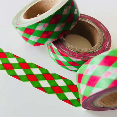 Washi Tape Red Green Diamond Weave 15Mm X 10Mtr Roll Planner Wrap Craft Scrap