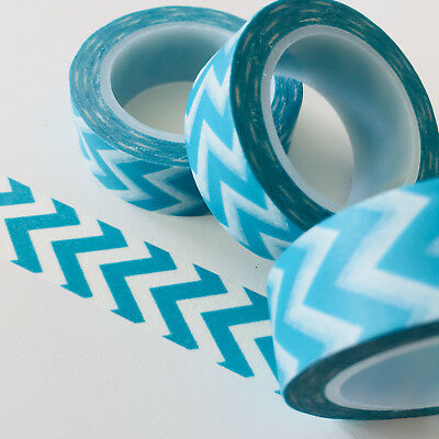 Washi Tape Aqua Blue Wide Chevron 15Mm X 10Mtr Roll Planner Wrap Craft Scrap