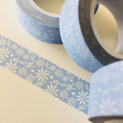 Washi Tape Finer Floral On Pale Blue 15Mm X 10Mtr Roll Planner Wrap Craft Scrap