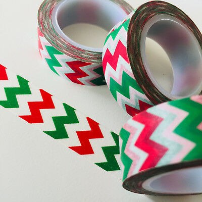 Washi Tape Mountains Red & Green 15Mm X 10Mtr Roll Planner Wrap Craft Scrap