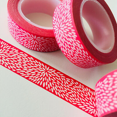 Washi Tape Red Hanabi Fireworks 15Mm X 10Mtr Roll Planner Wrap Craft Scrap
