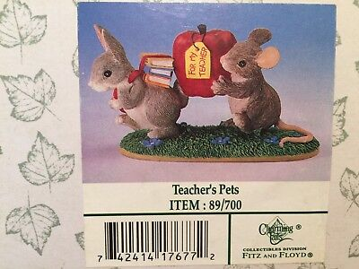 Charming Tails TEACHER'S PET Two Mice Books Apple Figurine #89/700 School Gift