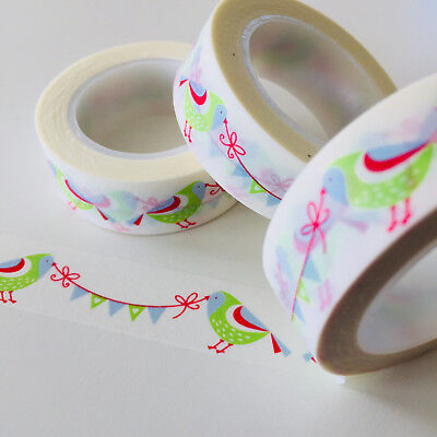Washi Tape Birds & Bunting 15Mm X 10Mtr Roll Planner Wrap Craft Scrap