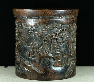 Chinese Exquisite Hand-carved People and landscape carving Wood Brush Pot
