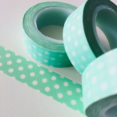 Washi Tape Polka Dots On Mint 15Mm X 10Mtr Roll Planner Wrap Craft Scrap