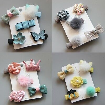 5pcs Hairpin Baby Girl Hair Clip Bow Flower Mini Barrettes Star Nice kids Supply