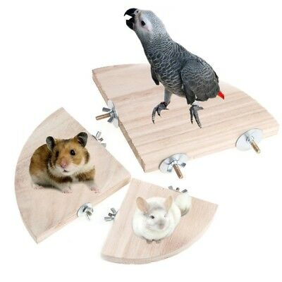 Wooden Pet Parrot Platform Stand Rack Toy Hamster Perches Branch For Bird  Smtp