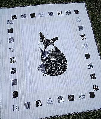 Black and white Fox quilt play mat, blanket Crib Bedding, Nursery Baby Blanket,