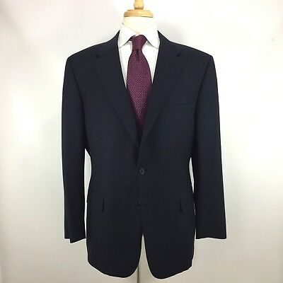 Chester Barrie Navy Blue Subtle Plaid Wool Coat Jacket Made in England 46 R