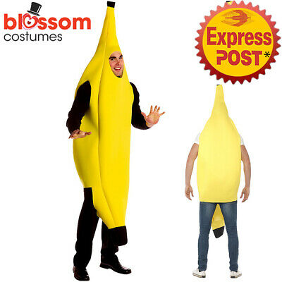 K492 Adult Banana Body Suit Jumpsuit Costume Unisex Outfit Fruit Funny Buck Hens
