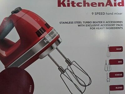 KitchenAid Hand Mixer KHM926, Empire Red, 9 speed turbo beater and accessories