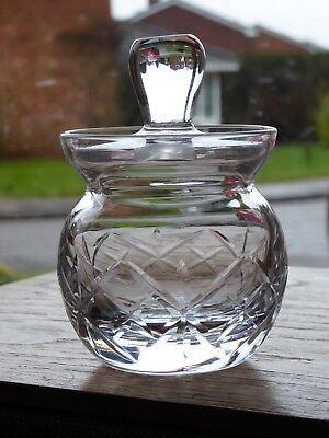 Vintage Cut Crystal Honey Jam Preserve Mustard Jar Pot Possibly Royal Brierley