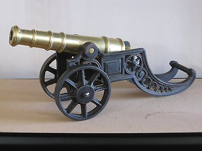 Large very heavy vintage solid brass & cast iron cannon for mancave