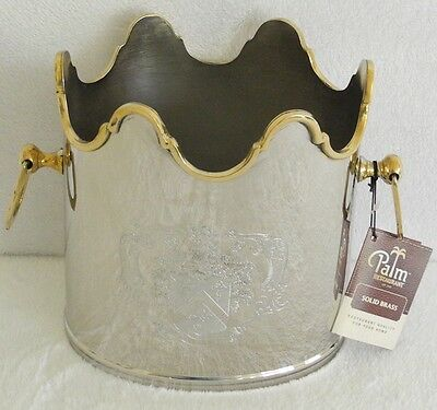 Palm Restaurant Solid Brass Ice Bucket Wine Cooler: Great For Outdoors! Bnwt!