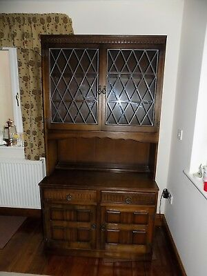 Vintage Dark Oak Welsh dresser Priory Style Dark Oak Cabinet Ideal Chabby Chic