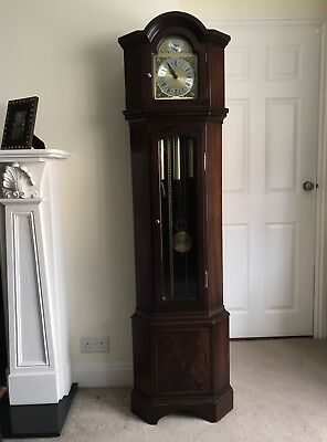 Corner Westminster Chime Longcase Grandfather Clock In Mahogany Finish Case