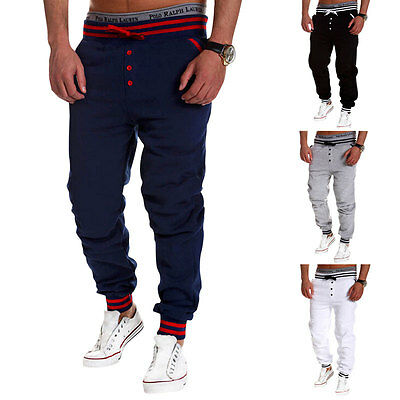 New Mens Casual Gym Sport Tracksuit Bottoms Jogging Trousers Joggers Sweat Uxym