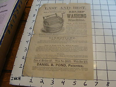 Vintage Early Paper: 1873 pat. Last & Best Relief Washing Machine daniel Pond