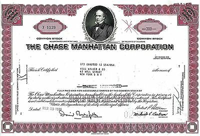 The Chase Manhattan Corporation, 1970 (300 Shares) sig. Rockefeller + Patterson