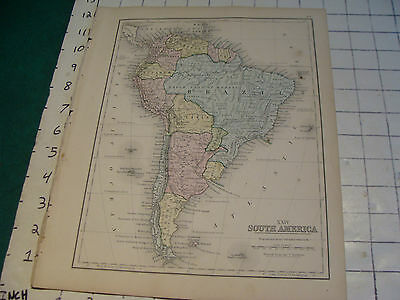 """Vintage Original 1866 Mitchell Map: SOUTH AMERICA map # 24 aprox 10 X 12"""""""