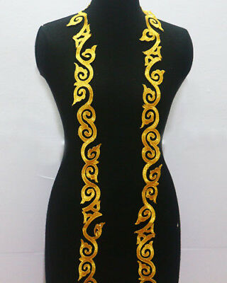 1 Yard Embroidery Gold Metallic Lace Trim For Sewing/Craft Wide 4 CM
