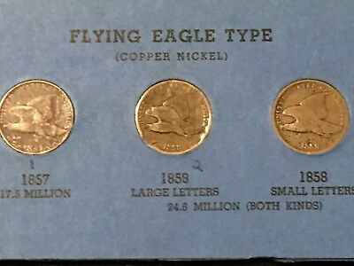1857 + 1858 (Small Letters) + 1858 (LARGE LETTERS) Flying Eagle Set