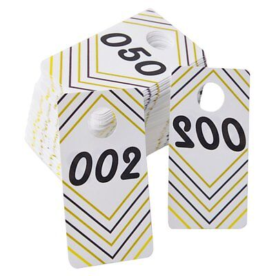 100 Pieces Reusable Consecutive 001-100 Live Sale Plastic Number Tags with and