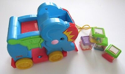 Fisher Price Peek A Boo Blocks Poppity Pop Elephant 4 Circus Musical Pull Toy