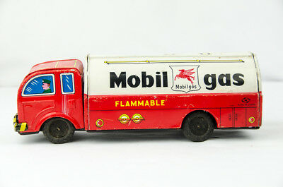 "Ultra Rare Vintage LARGE 10"" Japan Tin Litho Toy Mobil Gas Tanker Truck"