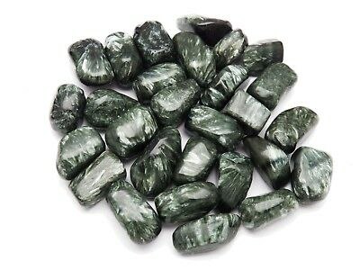 1 SERAPHINITE Beautiful! Tumbled HEALING Crystal Stones with pouch Med 4.1-8 g