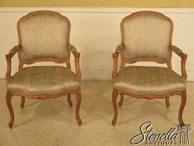 41636: Pair French Louis XV Style Open Arm Chairs