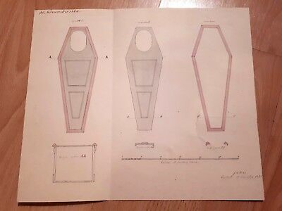 * Antique COFFIN BLUEPRINT Circa 1864 * EXTREMELY RARE & AUTHENTIC *