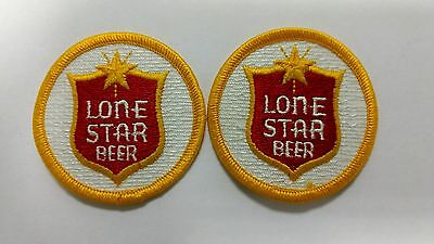 1 SET (2 each)  Vintage LONE STAR BEER Sew-On Rodeo Patch EMBROIDERED