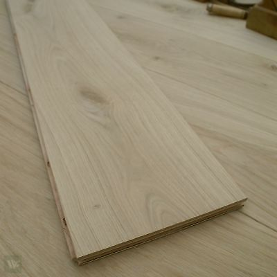 22CM Wide Oak Floorboards - Engineered Natural Wood Flooring - Unfinished ECH2N