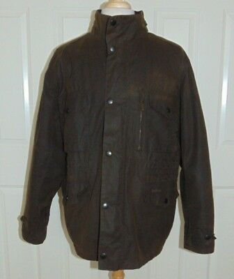 Barbour Sapper Waxed Cotton Quilt Lined Hooded Jacket Men's Size XXL