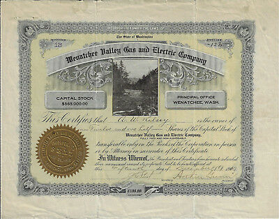 WASHINGTON 1910 Wenatchee Valley Gas & Electric Company Stock Certificate #18