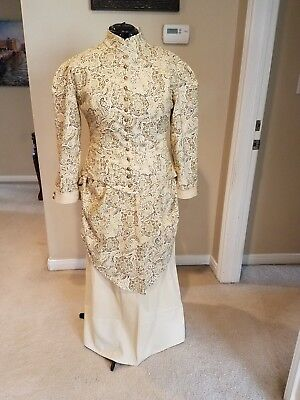 Victorian bustle dress in ivory cotton