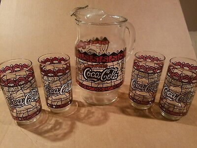 "Coca Cola Pitcher Stained Glass Style ""Enjoy Coke"" & glasses set"