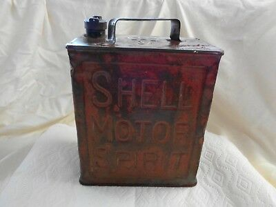 Vintage Shell Motor Spirit 2 Gallon Gas Can Marked on all 4 Sides and Top