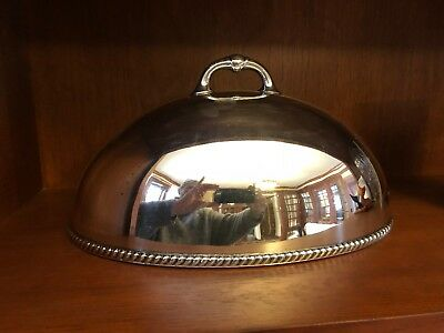 """1870'S Silver Plated 14"""" Meat Dome Cover Wallace Bros Lovely Piece"""