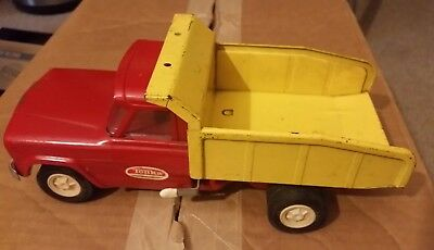 Vintage Tonka Toys Dump Truck Pressed Metal Red Yellow 1960's