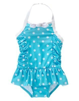 NWT Gymboree Girls Swimsuit Aqua Dots Halter 12 18 24mo 2T Toddler