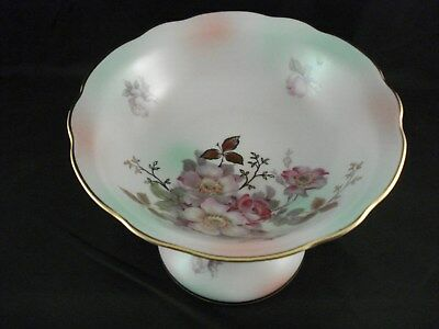 Schumann Arzberg Germany Wild Rose Blush Footed Round Compote Dish Pedestal