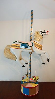 Vintage HAND CARVED WOODEN CAROUSEL HORSE on Stand with Mini Carousel Horses