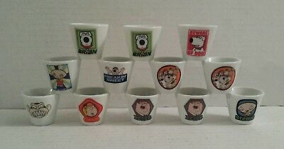 FAMILY GUY Mini Shot Glasses (LOT OF 12) Assorted Characters Peter Brian Stewie