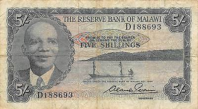 Malawi  5/- L. 1964  P 1 Prefix D  circulated Banknote  G. M3