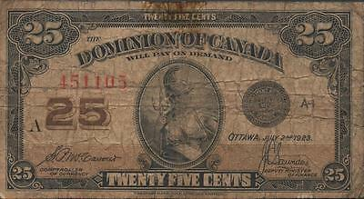 Dominion of Canada 25 Cents 7.2.1923 Series A Plate # A-1 Circulated Banknote