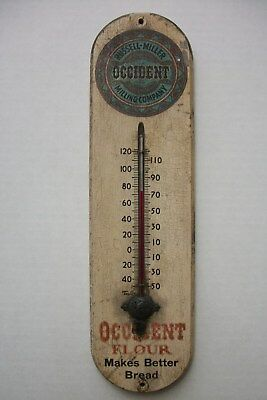 """100 year old Occident Milling Company wood Advertising Thermometer """"Free Ship"""""""